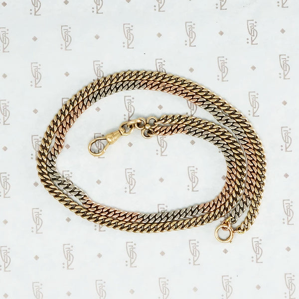 platinum gold rose gold flattened curb chain