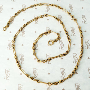 Victorian Paper Clip and Twisted Link 9ct Chain