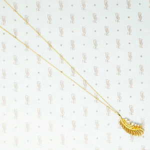 14k gold feather necklace