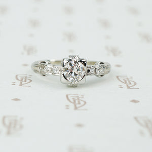 F/G SI diamond engagement ring 1937 white gold