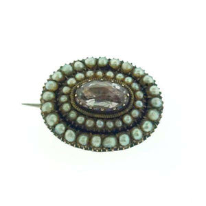 Late Georgian Pearl & Gem set Fichu Pin c1820
