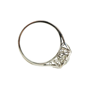 Platinum Filigree Old Euro Diamond Ring