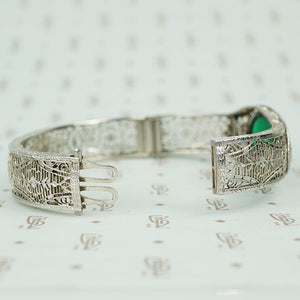 chrome art deco filigree hinged bangle bracelet with green agate open clasp