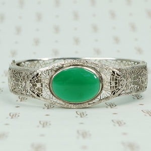chrome art deco filigree hinged bangle bracelet with green agate