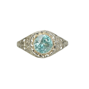 vintage 20s white gold filigree with round faceted natural blue zircon alternative engagement ring