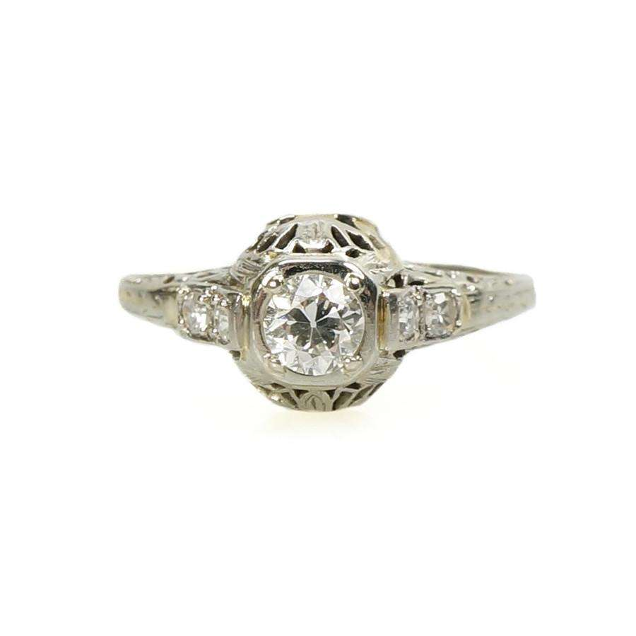 Vintage Art Deco Filigree Diamond Engagement Ring