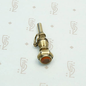 Carnelian Seal Watch Key Pendant