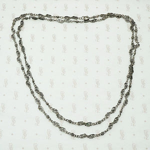 Silver Filigree Victorian Chain with Wonderful Patina