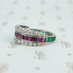deco platinum diamond emerald and ruby flip eternity band