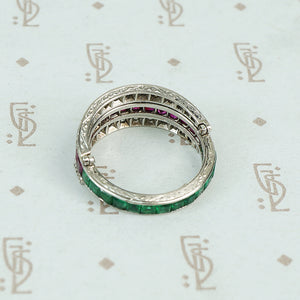 deco platinum diamond emerald and ruby flip eternity band engraving detail