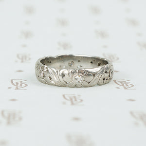 Leaves and Flowers a Vintage Platinum and Diamond Band