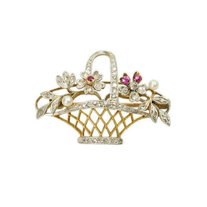 Exceptional Platinum and 18k Gold Flower Basket with Rose Cut Diamonds
