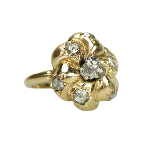 Rose Cut Diamond Studded Flower Ring