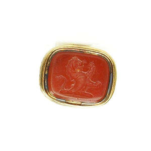 Rose Adorned Fob Seal with Carnelian Lion Rampant
