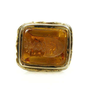 Silver Gilt Victorian Fob with Carved Citrine Armorial Shield