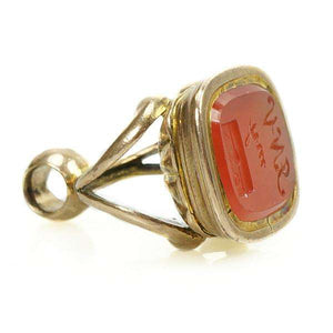 Victorian Fob Seal in Carnelian Carved with a sealed letter