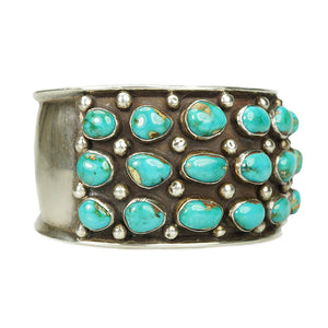Impressive Fred Guerro Silver and Turquoise Cuff - Gem Set Love
