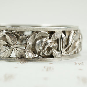 French Silver Hinged Bangle Roses and Iris c1900