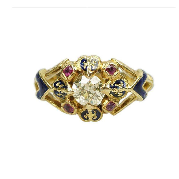 Antique Diamond and Ruby 18k Gold Enameled French Hallmarked ring in Original box