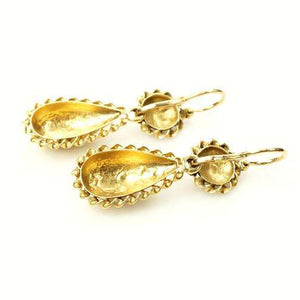 19th century Day & Night Earrings French Hallmarked 18k Gold
