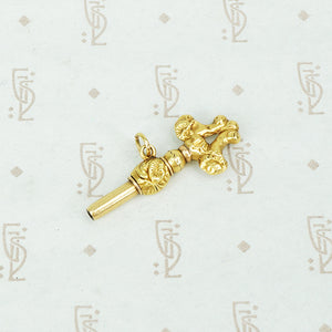 French 18k Repossé Watch Key