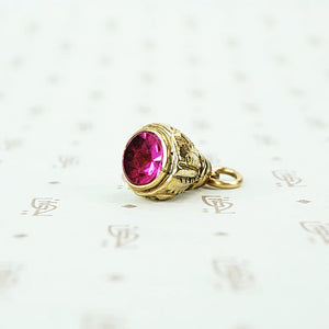 gold filled and fushia glass fob circa 1880