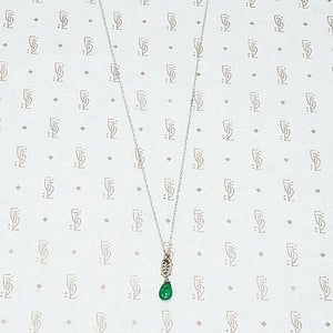 Emerald and White Gold Filigree Necklace by brunet