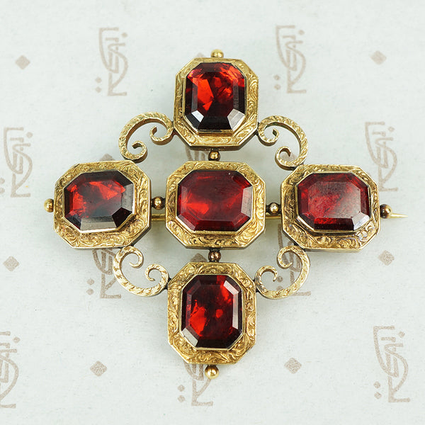 georgian gold garnet brooch