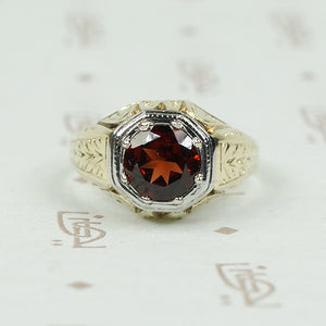 Beautifully Engraved Bold Deco Garnet Ring