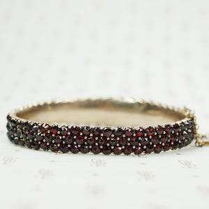 Fancy Bohemian Garnet Bangle Bracelet