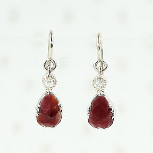 rose cut garnet and diamond earrings in 14k white gold