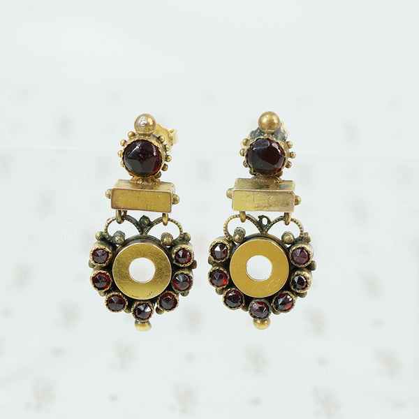 Rose cut Garnet and jewelers brass post earrings
