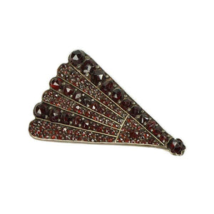 Bohemian Garnet Brooch in the shape of a Fan