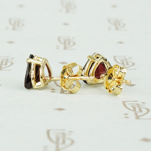 Heart Shaped Garnet Stud Earrings