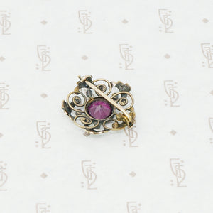 Gold brooch with acanthus leaves a rhodolite garnet and pearls back view