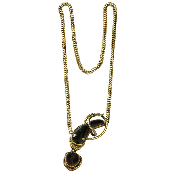 Antique Garnet Snake Necklace with Pendant Heart