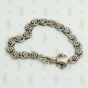 Bejewled 19th Century Silver Hand Clasp Bracelet