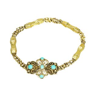 Gem Set Georgian 18k Gold Bracelet