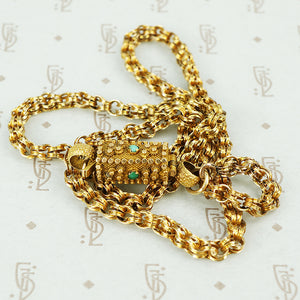 gold chain with turquoise studded georgian clasp detail