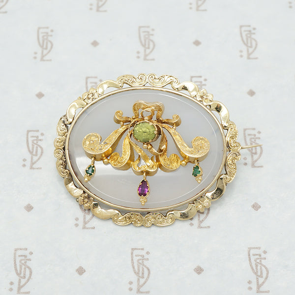 22k gold chalcedony georgian brooch
