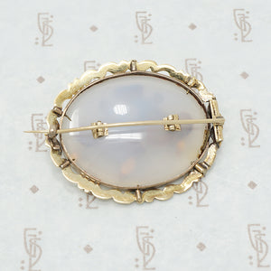 22k gold chalcedony georgian brooch back view