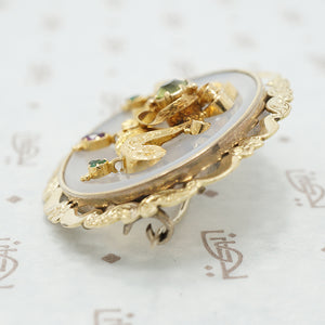 22k gold chalcedony georgian brooch side view