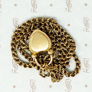 georgian heart lock locket back with garnet carbuncle on gold chain