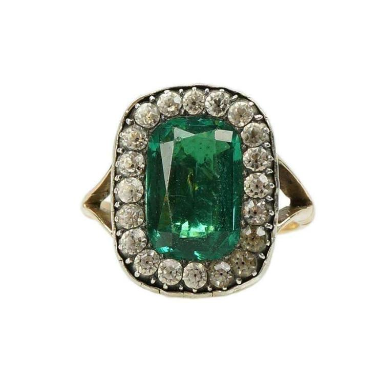 Georgian Emerald Paste Ring early 1800s