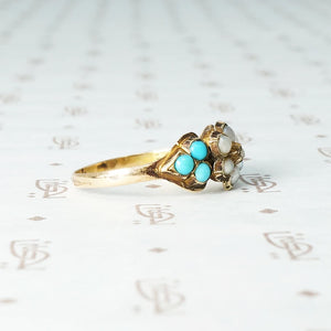 Victorian White Rose Love Token Ring with Pearl and Turquoise