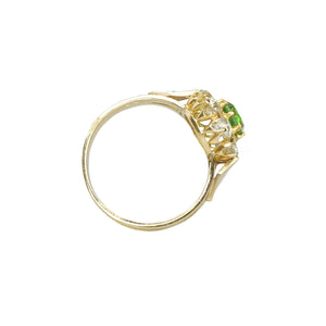 Green Garnet and Mine Cut Diamond Ring - Gem Set Love