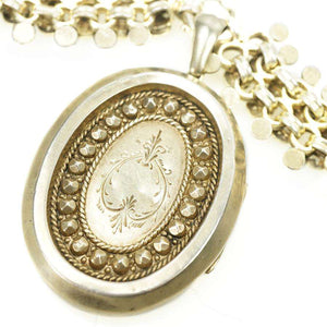Silver Gilt Victorian Collar and Locket with Stars