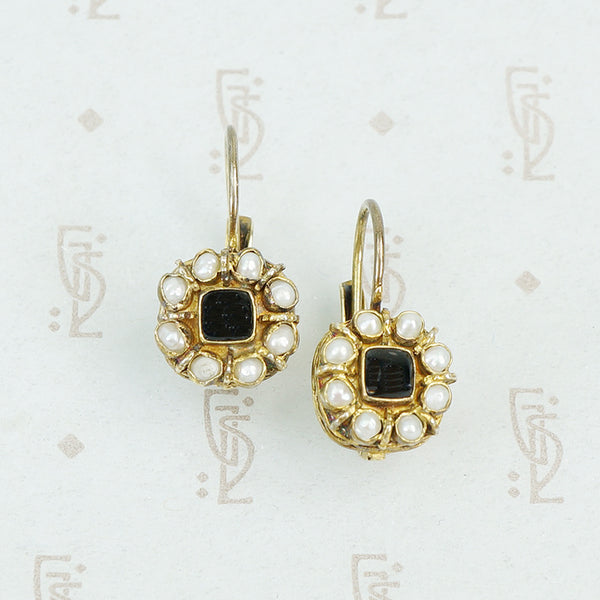onyx and pearl silver gilt earrings