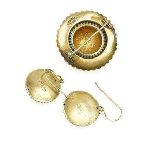 Repoussé Victorian Pin and Earring Set in Silver Gilt