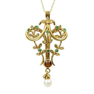 Exceptional Naturalistic 18k gold and Gemstone Pendant